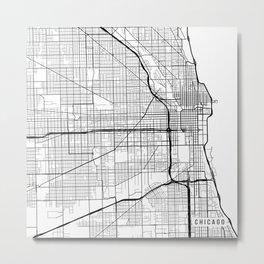 Chicago Map, USA - Black and White Metal Print