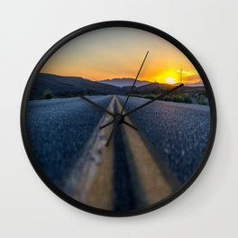 Sunset on the road Wall Clock