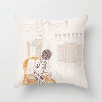 sam smith Throw Pillows featuring Sam by David Fleck