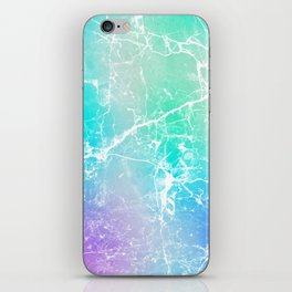 Modern turquoise purple watercolor abstract marble iPhone Skin