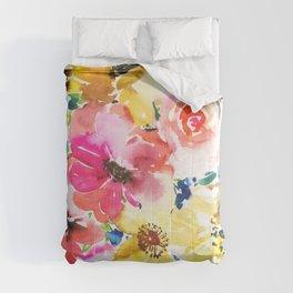 peonies, anemones and roses in watercolor Comforters