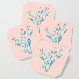 Rose Desert Cactus on Pink by Nature Magick Coaster
