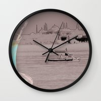 istanbul Wall Clocks featuring istanbul by Cenk Cansever