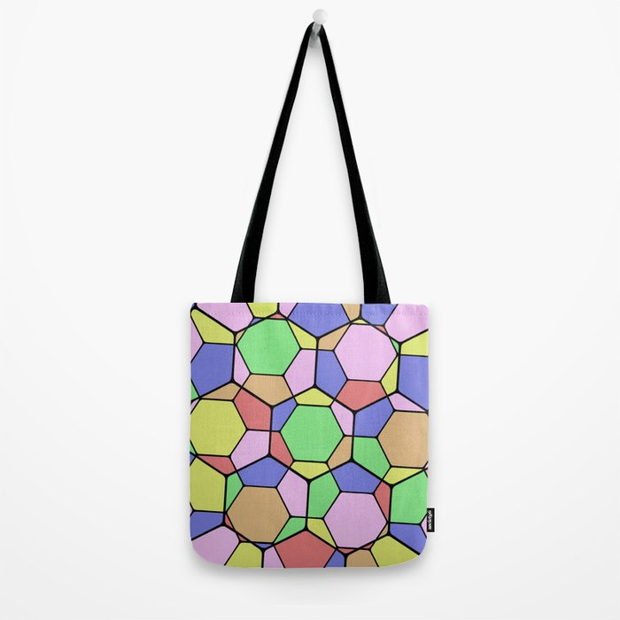 Stained Glass Tortoise Shell - Geometric, pastel, hexagon patterned artwork Tote Bag