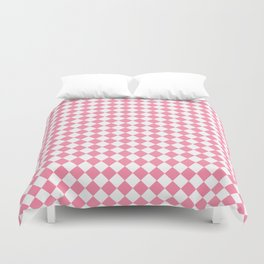 Small Diamonds - White and Flamingo Pink Duvet Cover