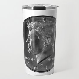 John F. Kennedy silver half dollar on white background Travel Mug