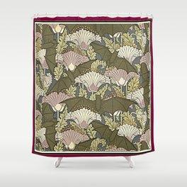 Burgundy Trimmed Art  Nouveau Bats & Poppy Patterns Shower Curtain