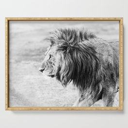 Black and White Lion Serving Tray
