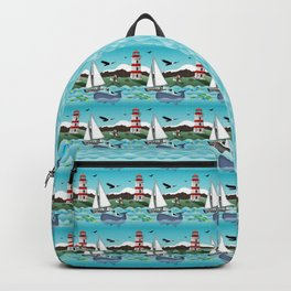 Coastal Sailing - Nautical Landscape Scene Backpack