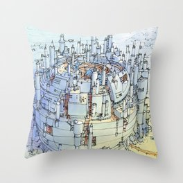 La Citta' nel deserto Throw Pillow