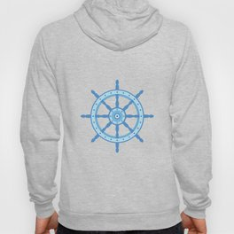 AFE Ship Wheel Light Blue, Nautical Art Print Hoody
