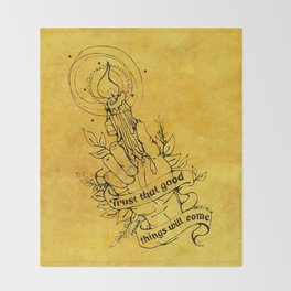 Candle Light Hope (Yellow Colors) Throw Blanket