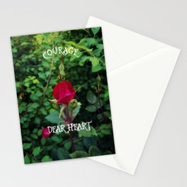 Courage, dear heart, C.S. Lewis quote in rosebud garden setting Stationery Cards