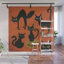 Fraidy Cats - Spooky Halloween Black Cats on Orange Wall Mural