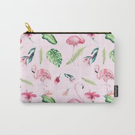 Blush pink green watercolor monster leaves flamingos pattern Carry-All Pouch
