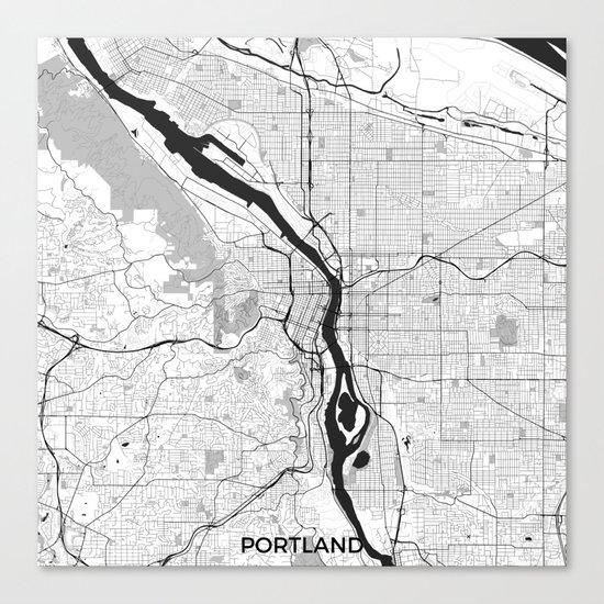 Portland Map Gray Canvas Print