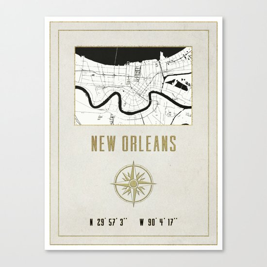 New Orleans - Vintage Map and Location Canvas Print