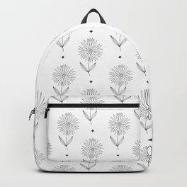 Hand drawn black white sunflower geometrical  pattern Backpack