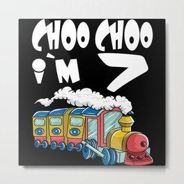 Choo Choo I'm 7 Children's Birthday Train Metal Print