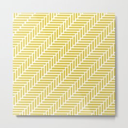 Herringbone 45 Yellow Metal Print