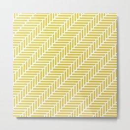 Herringbone 45 Yellow Metal Print