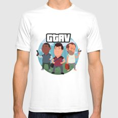 Grand Theft Auto V Cartoon SMALL White Mens Fitted Tee