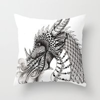 dragon Throw Pillows featuring Dragon by Elisa Camera