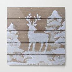 Wood slat deer in the snowy woods Metal Print