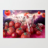 pigs Canvas Prints featuring Pigs by Devnenski
