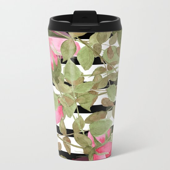 Watercolor . Buds of roses on a striped black and white background Metal Travel Mug