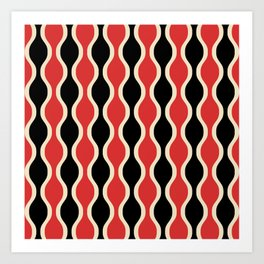 Classic Retro Ogee Pattern 937 Black and Red Art Print