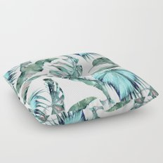 Tropical Palm Leaves Blue Green on White Floor Pillow