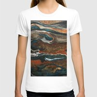 "geology T-shirts featuring ""stratify"" abstract watercolor and gouache painting by Carol Farnum Art"