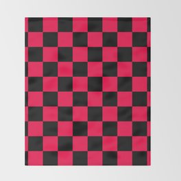 Black and Red Checkerboard Pattern Throw Blanket