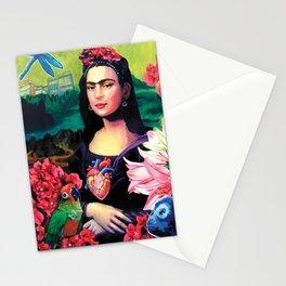 "Frida Kahlo Series by Michael Cuffe - ""Mona Kahlo Frida Lisa"" Stationery Cards"