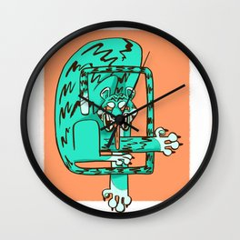 blue fangs Wall Clock