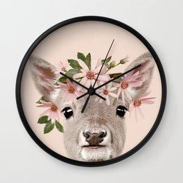 Baby Deer Print, Baby animal, Flower crown, Woodlands Decor, Wall Art, Animals Print, Woodlands Wall Clock