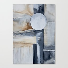beige navy abstract Canvas Print
