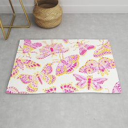 Butterfly Pattern Pink Gold White Rug
