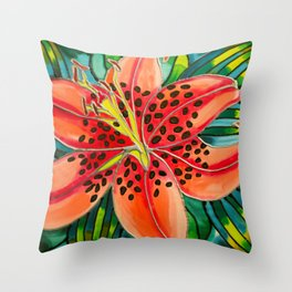 Pink Lily in Belize Throw Pillow