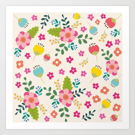Cute Pastel Spring Flower Pattern Art Print