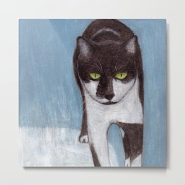 Cat in Snow Metal Print
