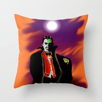 dracula Throw Pillows featuring Dracula by JT Digital Art