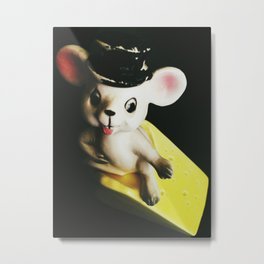 Vintage Mouse And Cheese Metal Print