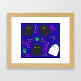Cats and Ghost Funky Halloween Pattern Framed Art Print