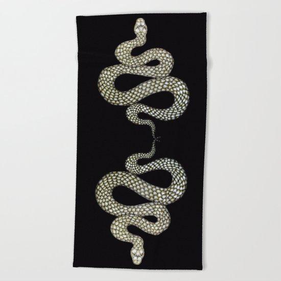 Snake's Charm in Black Beach Towel