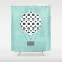 hot air balloon Shower Curtains featuring GRAY HOT AIR BALLOON by Allyson Johnson