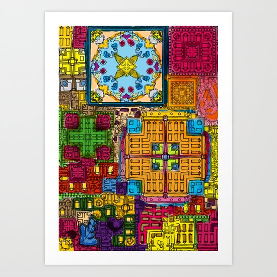 Colourful collage Art Print