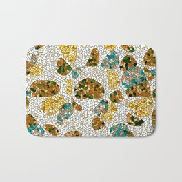 Gold, Copper, and Blue Mosaic Abstract Bath Mat