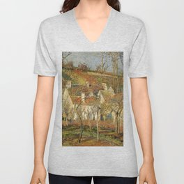 """Camille Pissarro """"The Red Roofs, a Corner of a Village, Winter Effect"""" Unisex V-Neck"""